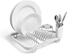 Umbra Sinkin Dish Drying Rack with Removeable Cutlery Holder for Sink or Countertop, Standard, White