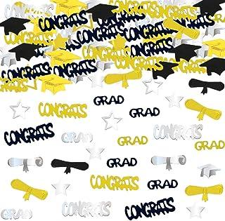 Best Graduation Decoration Confetti for Grad Party 1.1 oz-Congrats, Grad, Star, Graduation Cap, Diploma Gold, Black, Silver Mix Color Review
