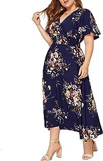 Women Plus Size Summer Floral Boho High Waist V Neck Maxi Dress