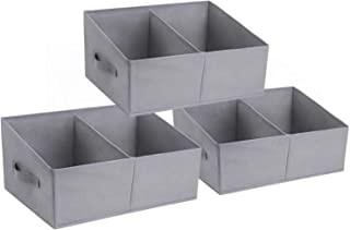 DIMJ Lot de 3 Boites de Rangement Ouvertes Pliables,Panier de Rangement en Tissu, Caisse Rangement avec Poignée Renforcée ...