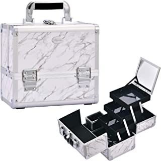 Joligrace Makeup Train Case Cosmetic Box 10 Inches Jewelry Organizer Professional 3 Tiers Trays with Mirror and Brush Holder Lockable Key Portable Travel Marble White