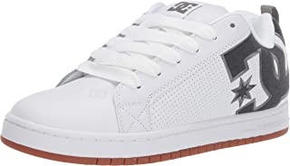 DC Men's Court Graffik Se Skate Shoe, White/Black/Light Grey, 10 M US