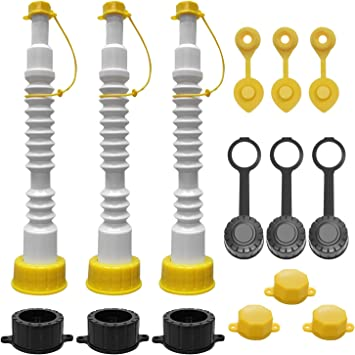 EONLION Gas Can Replacement Spout Kit, Flexible Pour Nozzle with Strainer and Gasket, Vent Caps, Stopper Caps, Collar Caps, Stripe Cap, Spout Kit for Water Jugs and Old Can, 3 Pack: image