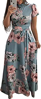 Women Long Maxi Dress New Summer Floral Print Beach Dress Casual Short Sleeve Bandage Party Dress Vestidos Plus Size