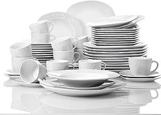 12 Pièce Diner Ensemble porcelaine vaisselle table à manger Serving Vaisselle Noir