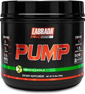 Labrada New Pro-Series PUMP - All-In-One Pre-Workout Supplement Powder Made From Patented Technology (480g, Green Apple) -...