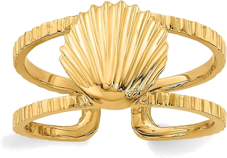 Bonyak Jewelry Sea Shell Toe Ring in 14K Yellow Gold in Size 11