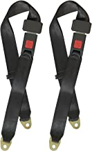 MOHEEN Universal Lap Seat Belt 2 Point Adjustable Safety Harness Kit for Go Kart, Club Golf Cart, 48 Inch, 2 Pack in Black