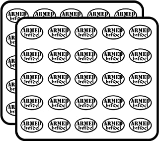 Oval Armed Infidel -us no Gun Ammo NRA Military Proud Anti isis Sticker for Scrapbooking, Calendars, Arts, Kids DIY Crafts, Album, Bullet Journals 50 Pack