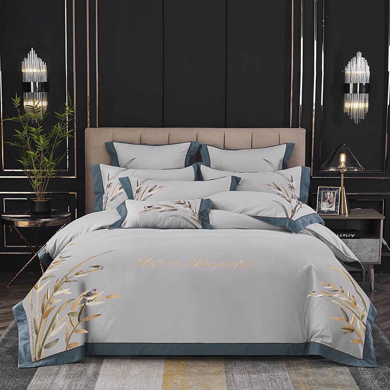 Bombing free shipping Luxuryl Bedding Set King Queen Size L Bamboo Low price Leaf Embroidery Bed
