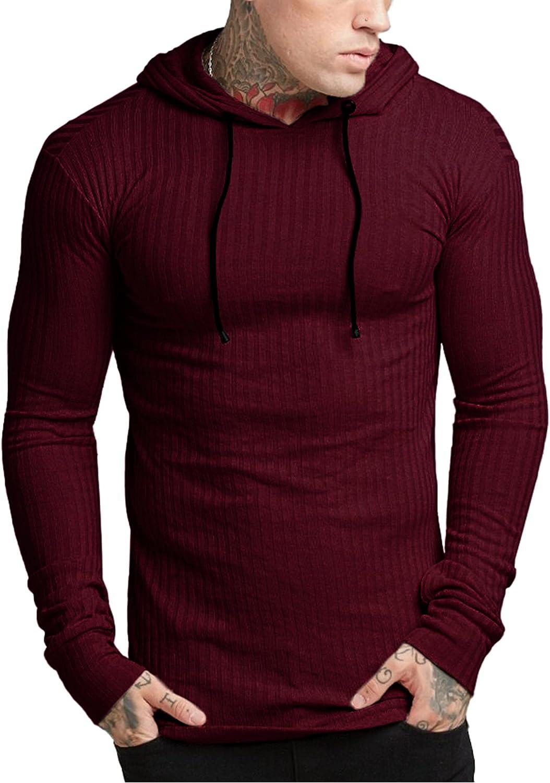 Babioboa Men's Hoodies Pullover Long Sleeve Lightweight Ribbed Slim Fit Athletic Sweatshirt Hooded