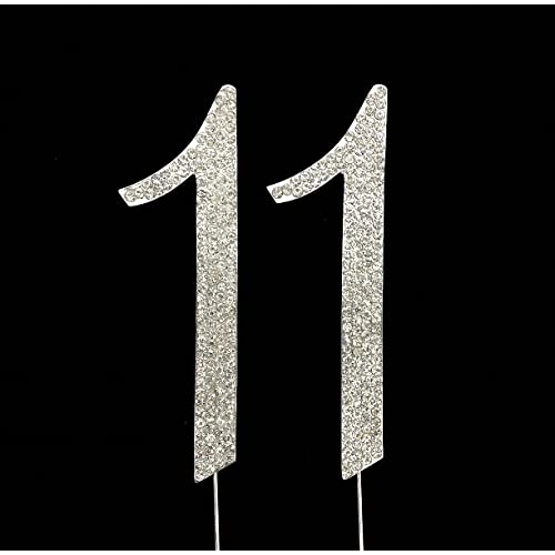 Large 11th Birthday/Wedding Anniversary Number Cake Topper with Sparkling Rhinestone Crystals - 4 1/2