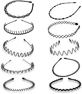 Cerchietti per capelli, ondulati, in metallo, colore nero, primaverili, da uomo e da donna, 10 pezzi