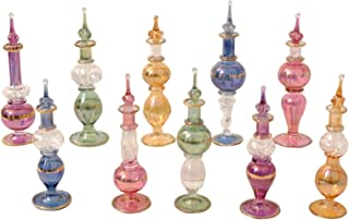 CraftsOfEgypt Egyptian Perfume Bottles Set of 10 Hand Blown Decorative Pyrex Glass Vials Height 4 Inch (12 cm)
