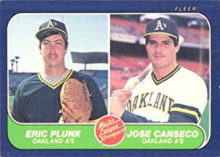 1986 Fleer Baseball #649 Eric Plunk / Jose Canseco Rookie Card