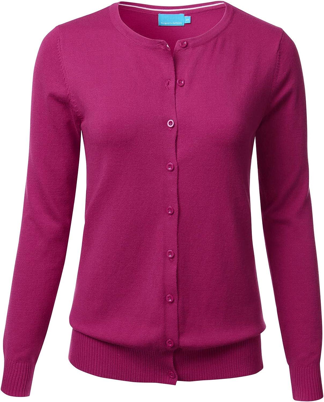 FLORIA Women's Button Down Crew Neck Long Sleeve Soft Knit Cardigan Sweater Magenta XL