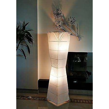 """Trango TG1209 lampadaire au design moderne""""LADY"""" Lampe en papier de riz en carré blanc de forme courbe lampadaire de 125cm de haut, lampe de décoration de salon, lampadaire avec abat-jour"""