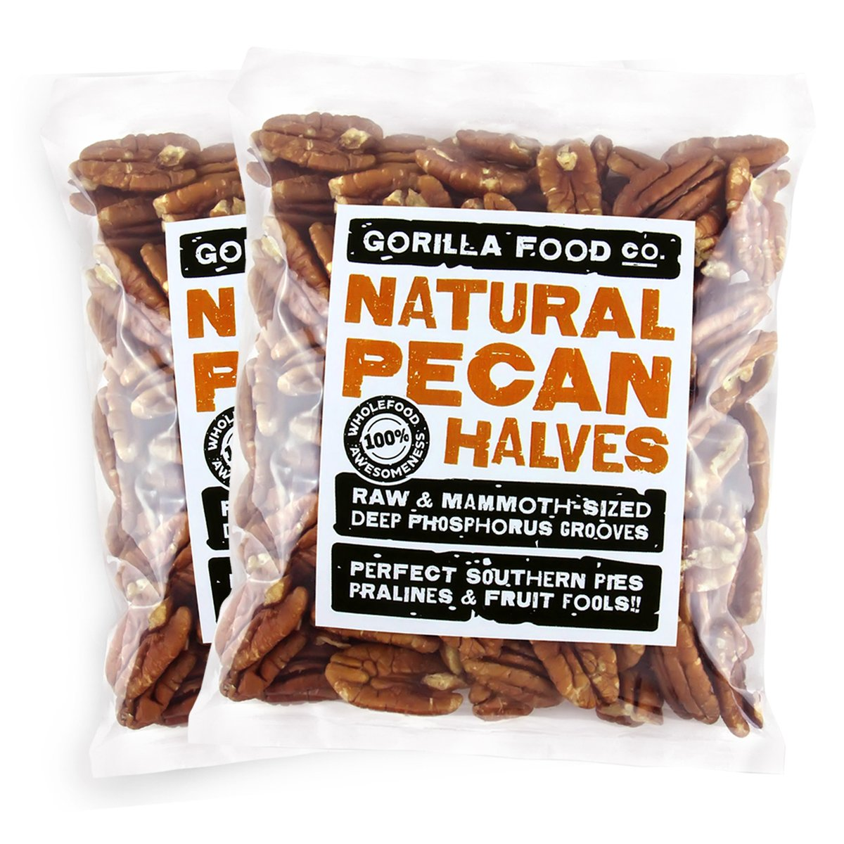 Gorilla Food Co. Overseas parallel import regular item Pecan Halves Raw Jr. 1 Packs Pound Super popular specialty store - Mammoth 2