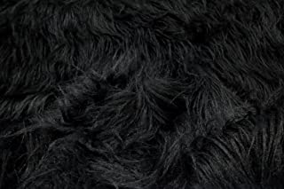 StoffBook Black Faux Fur Long Hair Teddy Fabric Material, b413