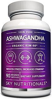 Sky NutritionalsTM Ashwagandha Premium Organic KSM-66 90-600 mg Capsules per Bottle