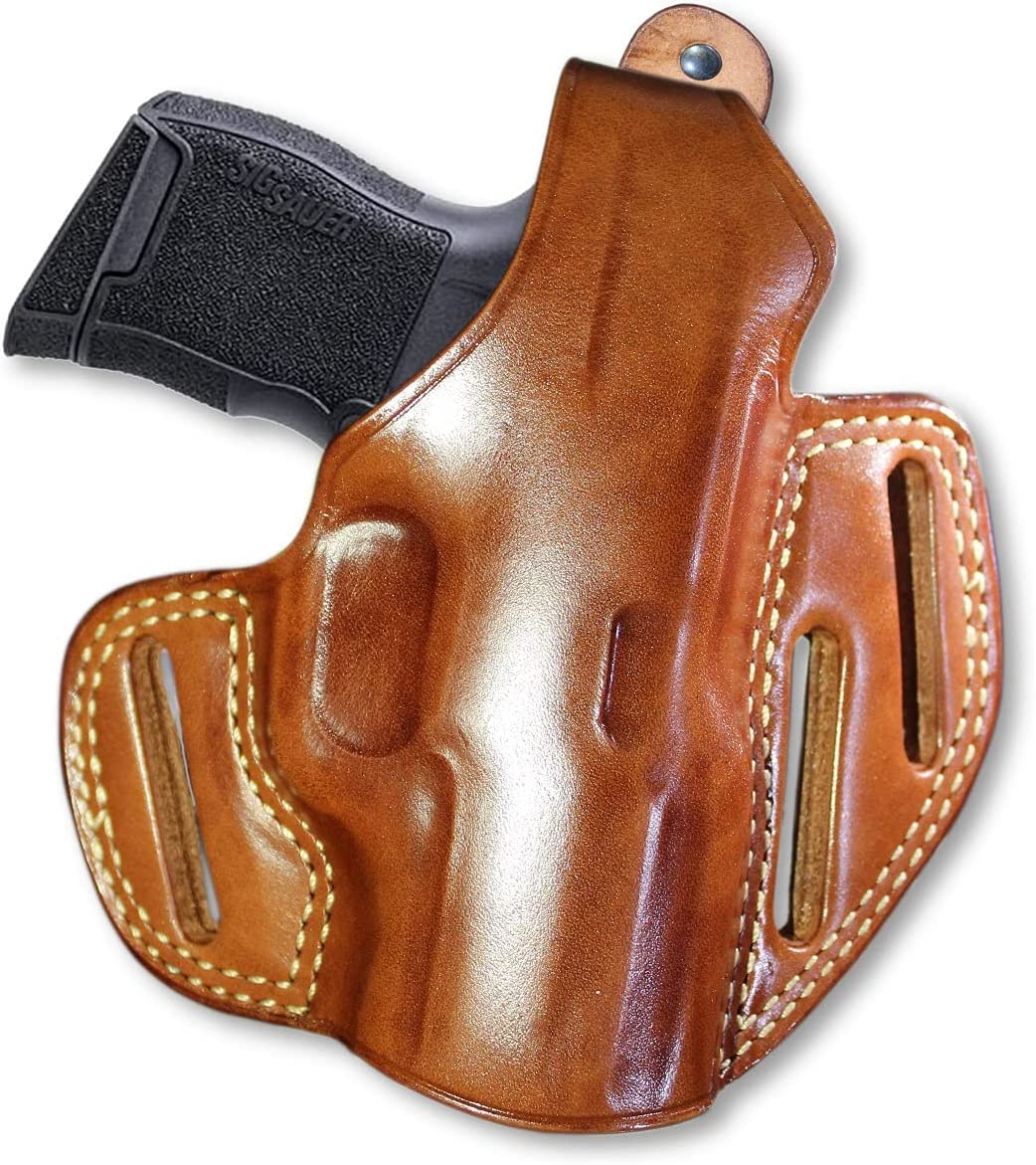 Outstanding Premium Leather OWB Three Slot Pancake Chicago Mall Holster Break with Thumb