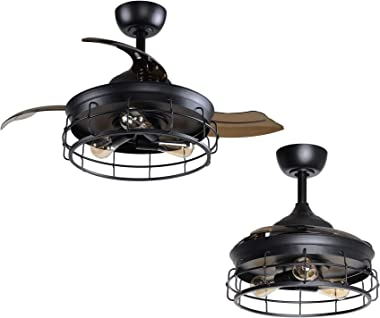 Rustic Ceiling Fan Light Kit 36 Inch Retractable Ceiling Fan with Lights and Wall Switch, Black Farmhouse Chandelier Ceiling
