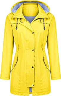 Kikibell Rain Jacket Women Striped Lined Hooded...