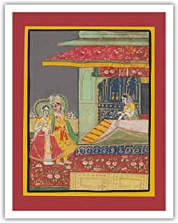 Pacifica Island Art India - A Prince with his Beloved - Indian Miniature Painting c.1800s - Fine Art Print - 11in x 14in