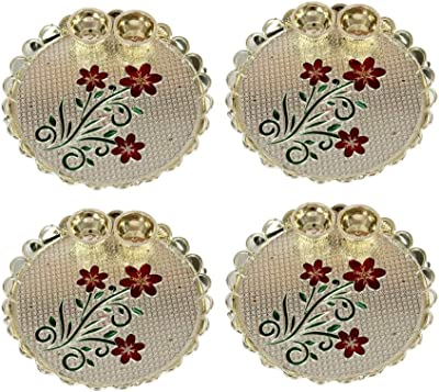 Handicrafts Paradise Decorative Haldi Kumkum Holder Puja Thali Pooja Thali With Enamel Floral Design 5.5 X 4 Inch - Set Of 4 Pc