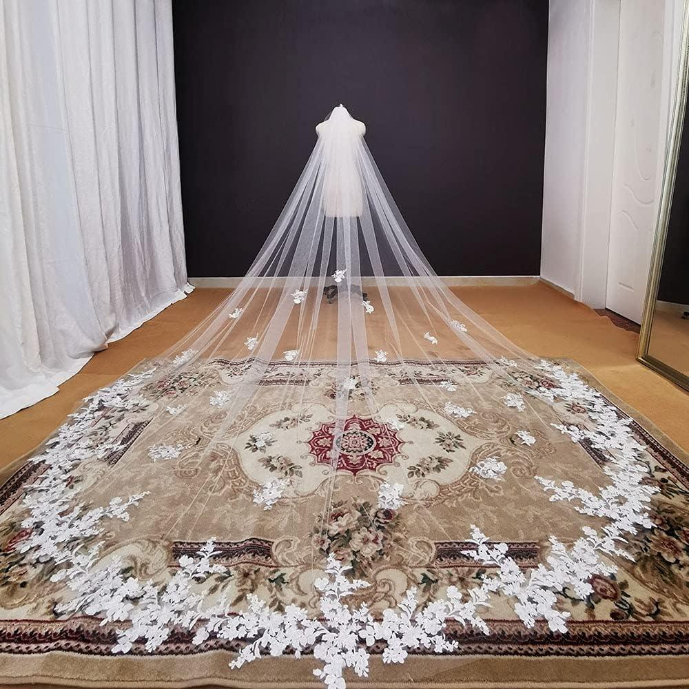 HUIJK Virginia Beach Mall store Veil Real Photos Long Lace Iv Appliques White Wedding