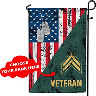 Personalized Veteran Rank Garden House Yard Lawn American Flags Customized Custom Patriotic Military Korean Vietnam War US Army Navy Marine Air Force Patriot Pride Gifts for Dad Husband Son Grandpa