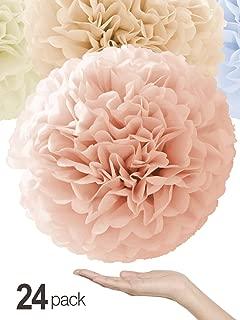 Natural Colors Tissue Paper Pom Poms [24 Pack - Sizes 14
