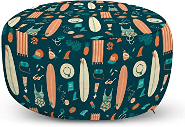 Ambesonne Beach Theme Ottoman Pouf, Retro Design of Summer Items Hawaiian Tropical, Decorative Soft Foot Rest with Removable