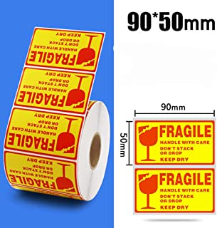 Fragile Stickers 1 Roll 1000 Labels Fragile - Handle with Care - Keep Dry Shipping Labels Stickers 90mm x 50mm