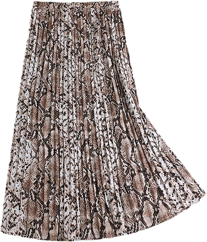 Autumn Winter Elegant Leopard Skirt Women Snake Print High Waist Pleated Casual Skirts