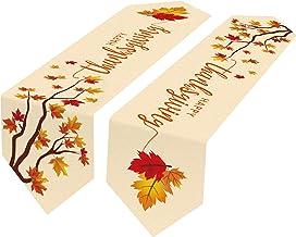 Thanksgiving Table Runner 2pcs for Thanksgiving and Fall Table Decorations, Fall Table Runner 13×72 in + Maple Leaf