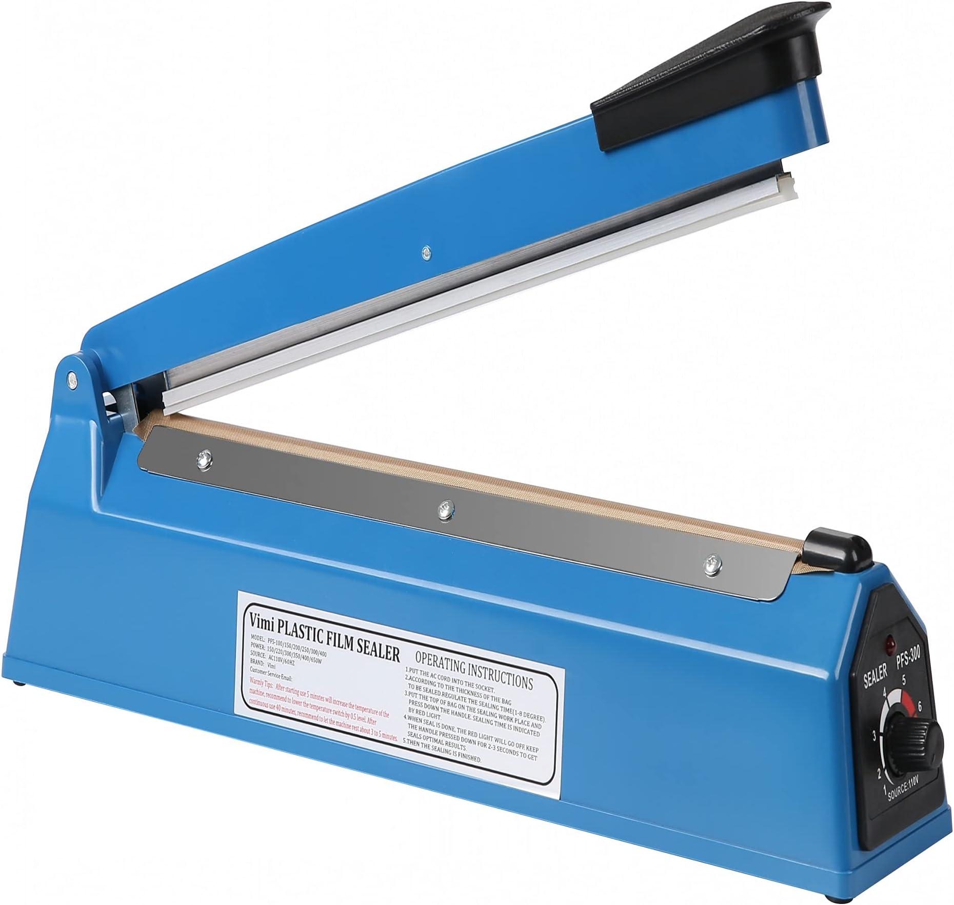 Impulse Heat Sealer Manual Bags Sealer Heat Sealing Machine 8 Inch Impulse Sealer Machine for Plastic Bags PE PP Bags with Extra Replace Element Grip
