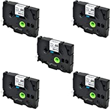 SuperInk 5 Pack Compatible for Brother HSe-221 HSe221 HS-221 HS221 Black on White Heat Shrink Tube Label Tape use in PT-D210 PT-D400 PT-E300 PT-E500 PT-P750WVP Printer (0.34''x 4.92ft, 8.8mm x 1.5m)