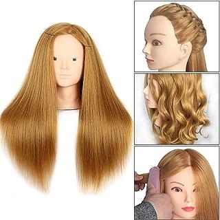 20 Inch Mannequin Head Human Hair Styling Training Head Manikin Cosmetology Head Hair Hairdressing training Face Makeup Practice head 27#
