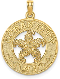 14k Yellow Gold Ocean City Nj Round Frame Starfish Pendant Charm Necklace Animal Fine Jewelry Gifts For Women For Her
