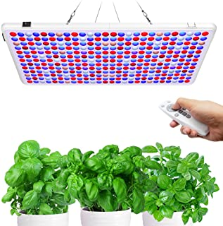Relassy Lampara de Cultivo Regulable, 300W LED Grow Light con temporizador, Control remoto Lámpara de Crecimiento, Lámpara de Plantas Veg/Bloom Grow Lámpara para crecimiento de flores de plantas