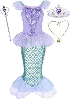 HenzWorld Little Mermaid Costumes Dress Ariel Halloween Princess Birthday Party Cosplay Accessories 1-12 Years