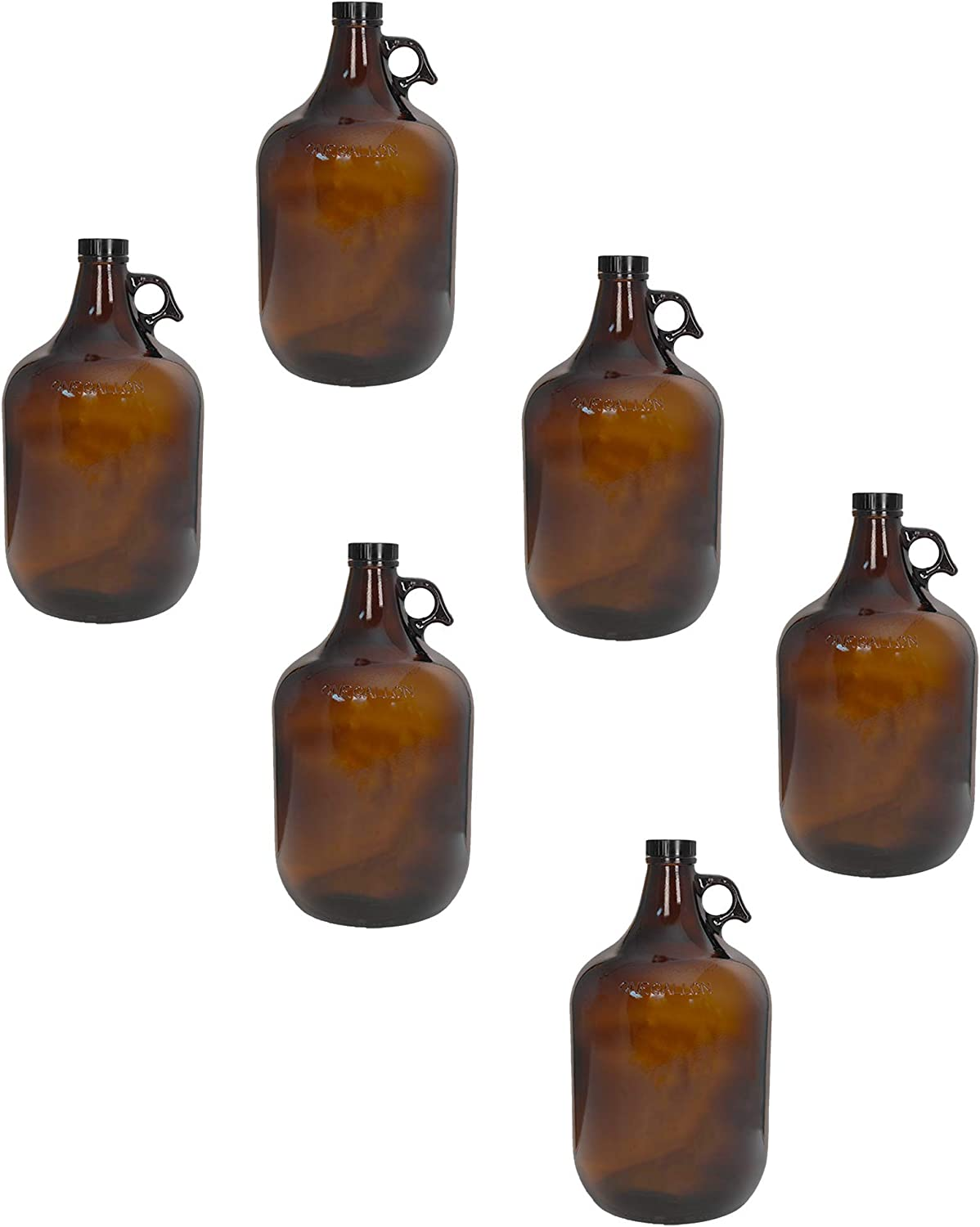 1 Gallon 128oz New product!! Amber Glass Jug With Austin Mall 38mm 6 Pack of FAS Cap