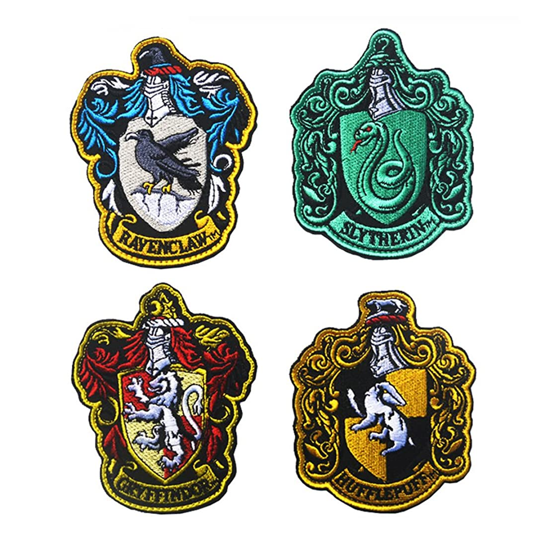 Harry Potter House of Gryffindor Crest, Slytherin, Ravenclaw, Huflepuff and Hogwarts Embroidered Patch Applique for Coat Jacket Gear Cap Hat Backpack (Set 4) ah92628819686101