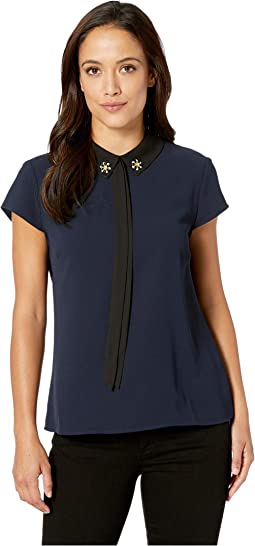 Short Sleeve Embellished Collar w/ Bow Blouse