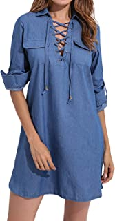 Women's Long Sleeve Blouse Dress Button Down T-Shirt Chambray Cotton Shirt with Pockets