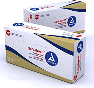 Dynarex Safe-Touch Vinyl Exam Glove Powder Free, Large, 100 Count (Pack of 5)