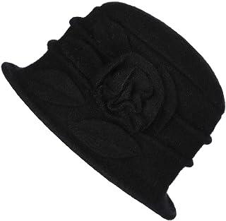Prefe 1920s Gatsby Womens Flower 100% Wool Warm Beanie Bow Hat Cap Crushable