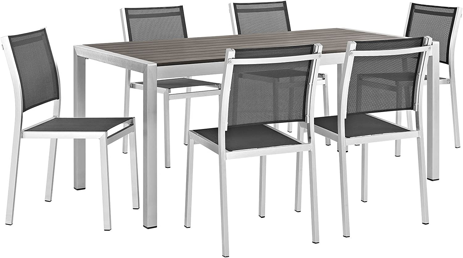 Shore 7-Piece Aluminum Outdoor Free shipping Patio discount Set Table Dining Silver in