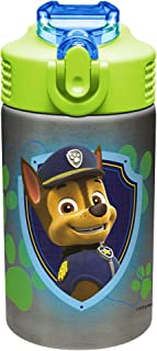 Zak Designs Paw Patrol 15.5oz Stainless Steel Kids Water Bottle with Flip-up Straw Spout - BPA Free Durable Design,  Paw Patrol Boy SS